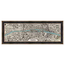 42-Inch x 16-Inch Framed Vintage Map of Paris