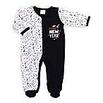Cutie Pie® Size 0-3M  My First New Year!  Footie in White/Black
