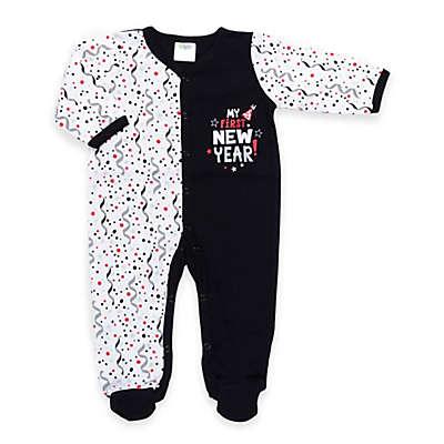 """Cutie Pie® """"My First New Year!"""" Footie in White/Black"""