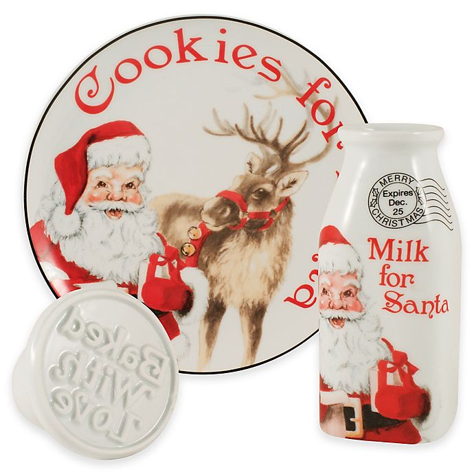 Fitz And Floyd Letters To Santa Cookies And Milk With Cookie Press