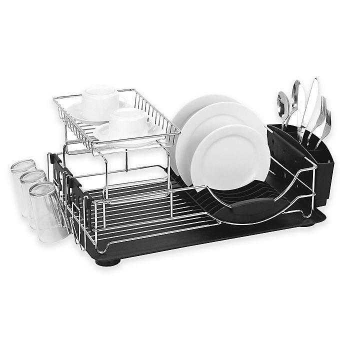 Alternate image 1 for Home Basics® 2-Tier Deluxe Dish Drainer
