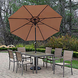 Oakland Living Padded Sling 9-Piece Dining Set with Umbrella and Stand