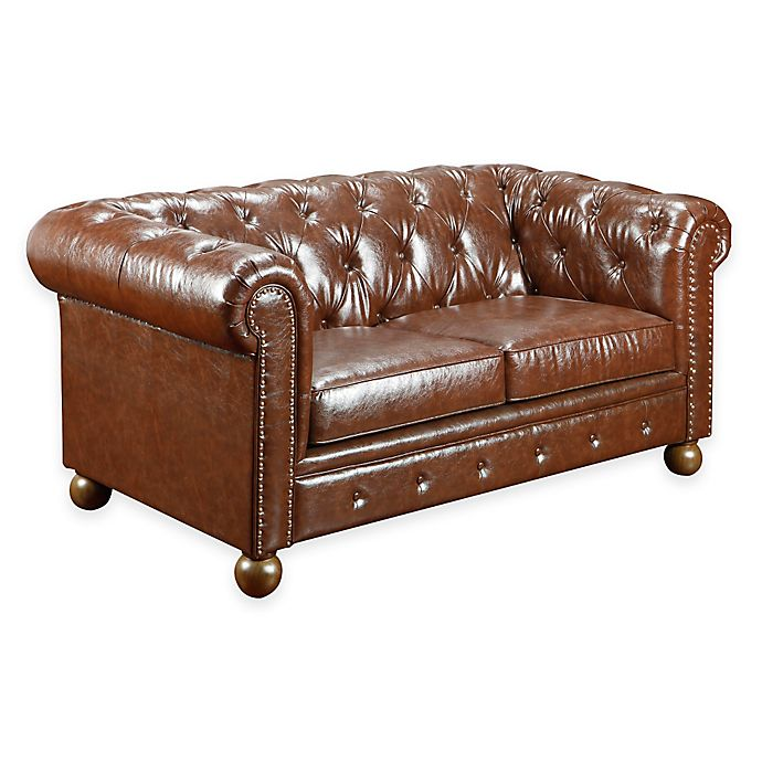 Tremendous William Vintage Faux Leather Loveseat Bed Bath Beyond Short Links Chair Design For Home Short Linksinfo