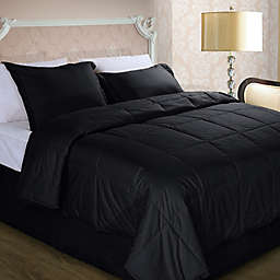 Cotton Dream Colors All Natural Cotton Filled King Comforter in Black