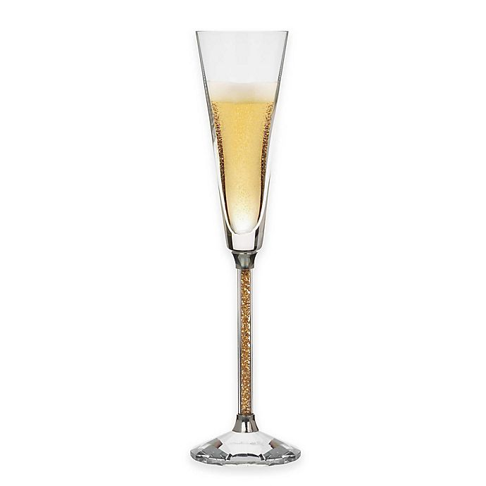 Alternate image 1 for Oleg Cassini Crystal Diamond Gold Toasting Flutes (Set of 2)