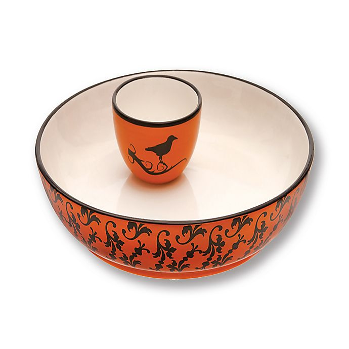 Alternate image 1 for Boston International 2-Piece Hallowchic Chip and Dip Set in Orange/Black