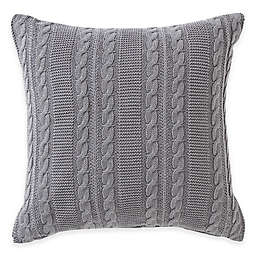 Dublin Knit Square Throw Pillow in Gray