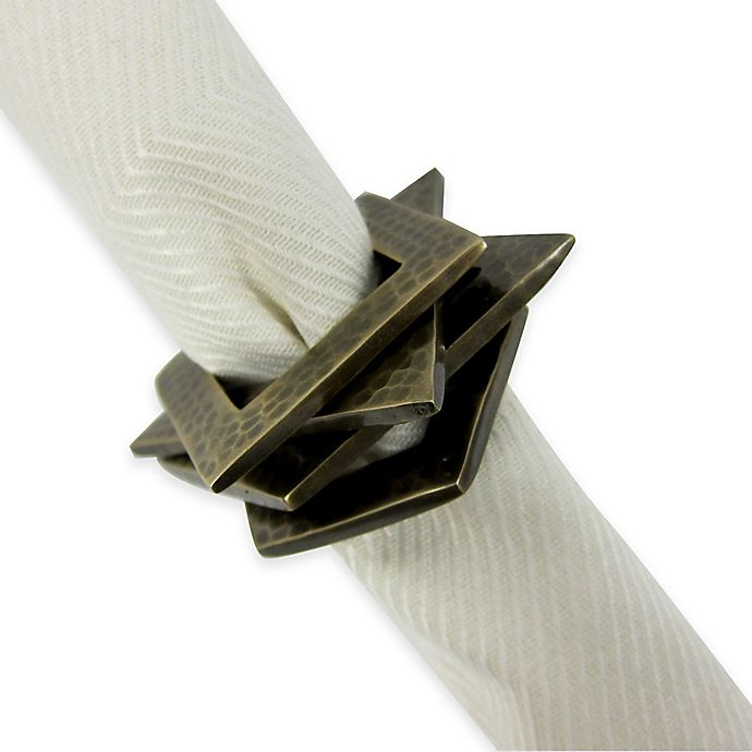 Alternate image 1 for Stackables Brass Napkin Rings (Set of 4)