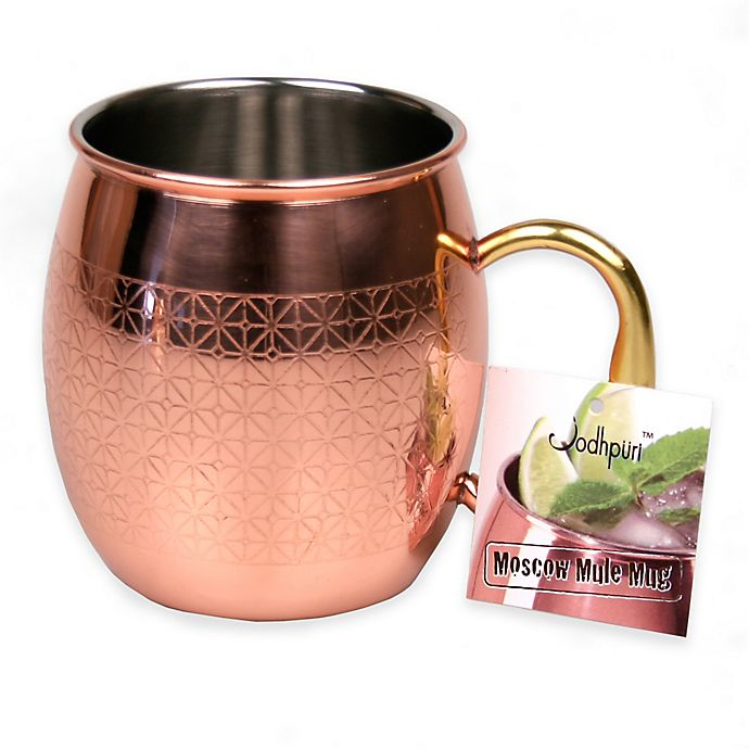 Alternate image 1 for Jodhpuri™ Moscow Mule Etched Diamond Tile Mug in Coppertone Stainless Steel