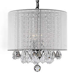 Gallery 3-Light Swag Crystal Chandelier with White Shade