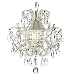 Gallery 1-Light Wrought Iron and Crystal Swag Chandelier in White