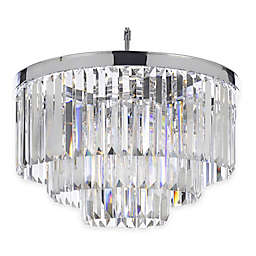 Gallery Retro Odeon Crystal Glass Fringe 3-Tier Chandelier in Chrome