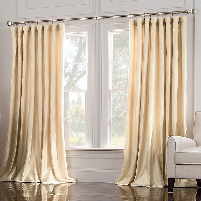 Alternate image 1 for Valeron Estate 108-Inch Silk Double Width Window Curtain Panel in Pearl