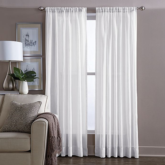 buy wamsutta sheer 108 inch window curtain panel in white from bed bath beyond. Black Bedroom Furniture Sets. Home Design Ideas