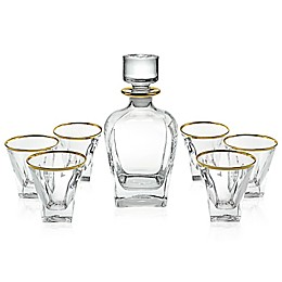 Lorren Home Trends RCR Fusion-Gold Crystal 7-Piece Whiskey Set