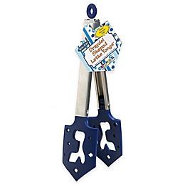 Hanukkah Dreidel Shaped Latke Tongs in Blue/Silver