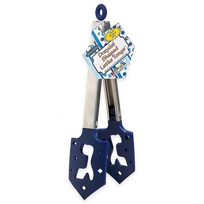 Alternate image 1 for Hanukkah Dreidel Shaped Latke Tongs in Blue/Silver