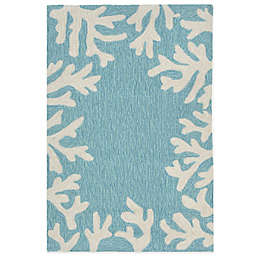 Trans-Ocean Capri Coral Border Indoor/Outdoor Rug