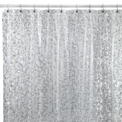 Pebbles Shower Curtain In Clear Bed