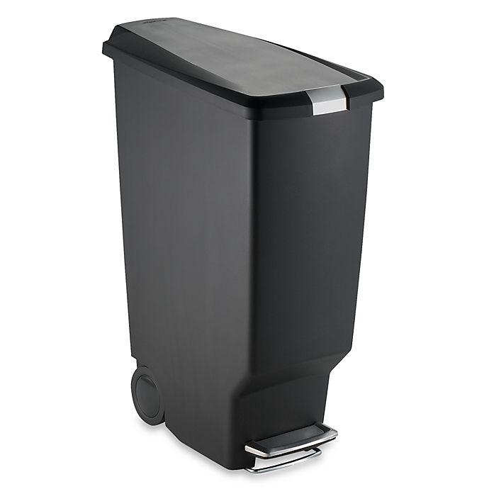 Alternate image 1 for simplehuman® Slim Plastic 40-Liter Step-On Trash Can in Black