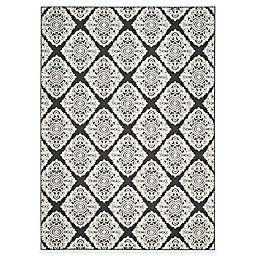 Safavieh Cottage Diamond Damask 6-Foot 7-Inch x 9-Foot 6-Inch Indoor/Outdoor Rug in Black