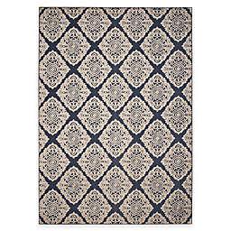 Safavieh Cottage Diamond Damask 8-Foot x 11-Foot 2-Inch Indoor/Outdoor Rug in Navy
