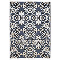 Safavieh Cottage Floral Damask 8-Foot x 11-Foot 2-Inch Indoor/Outdoor Rug in Navy