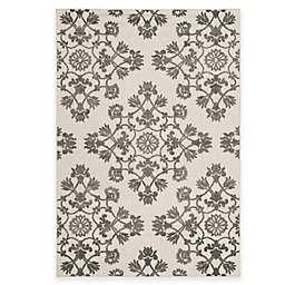 Safavieh Cottage Medallion Damask 6-Foot 7-Inch x 9-Foot 6-Inch Indoor/Outdoor Rug in Cream/Grey