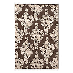 Safavieh Cottage Damask Indoor/Outdoor Rug in Brown