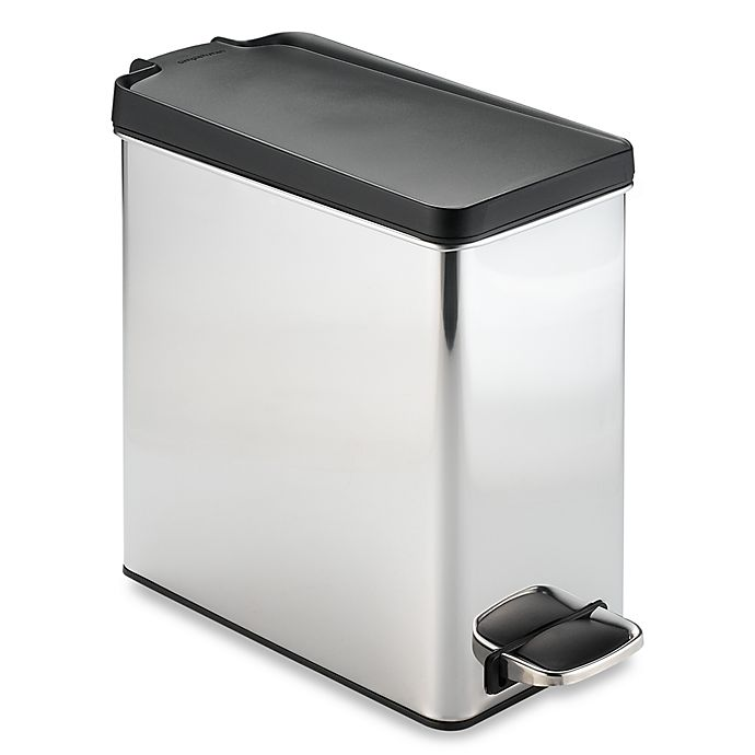 Alternate image 1 for simplehuman® Brushed Stainless Steel 10-Liter Profile Step Trash Can
