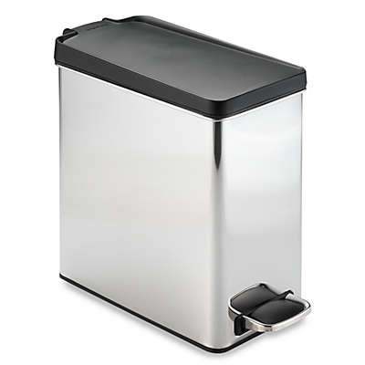 simplehuman® Brushed Stainless Steel 10-Liter Profile Step Trash Can