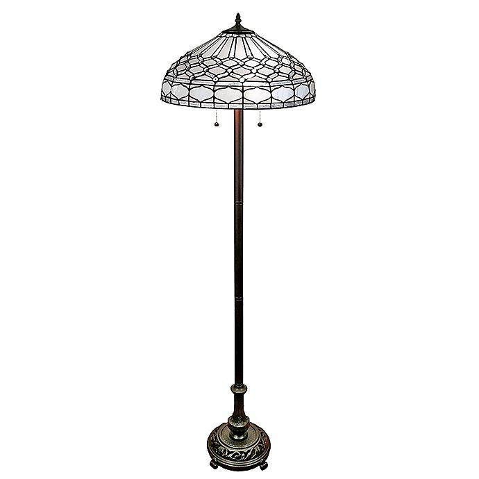 Alternate image 1 for Tiffany Style 62-Inch Vintage Floor Lamp with Stained Glass