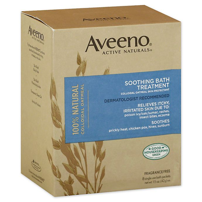 Alternate image 1 for Aveeno® Active Naturals 8-Count 12 oz. Soothing Fragrance-Free Bath Treatment Packets