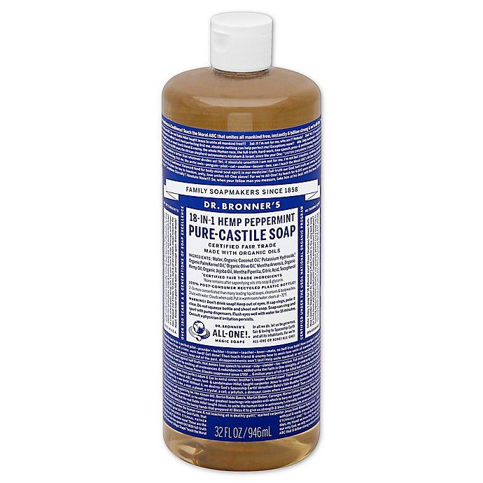 Alternate image 1 for Dr Bronner's 32 oz. 18-in-1 Pure-Castile Liquid Soap in Peppermint