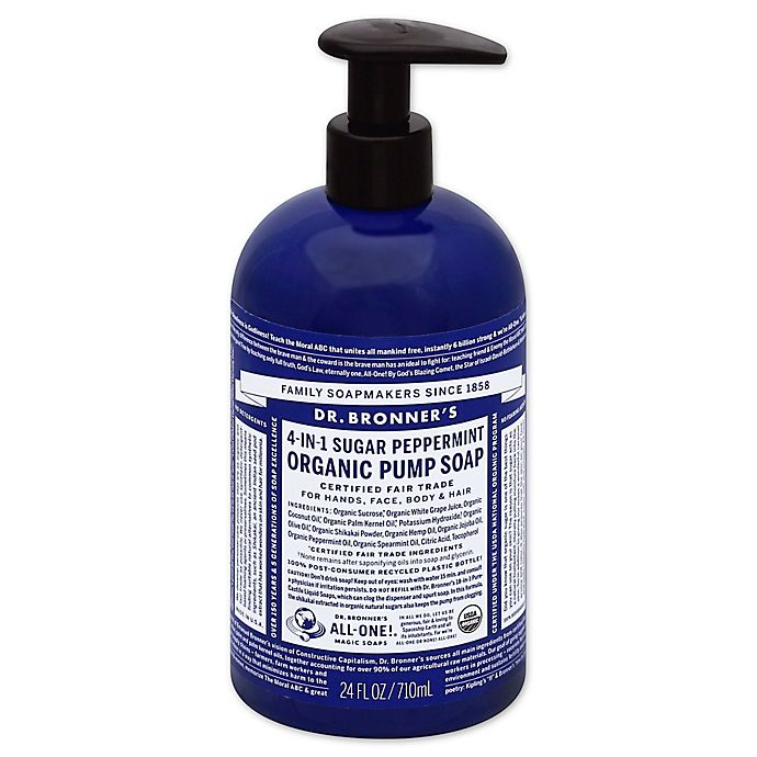 Alternate image 1 for Dr. Bronners 12 oz. 4-in-1 Sugar Peppermint Organic Pump Soap
