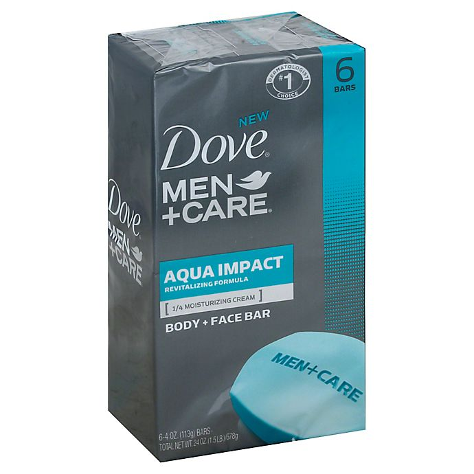 Alternate image 1 for Dove 6-Count 4 oz. Men+Care Body and Face Bar in Aqua Impact