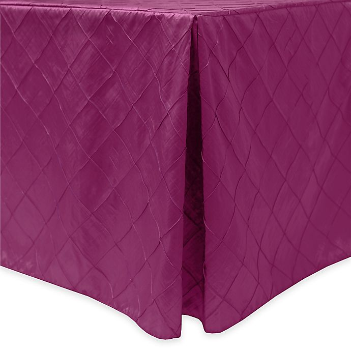 Alternate image 1 for Bombay Diamond-Stitched Pintuck Indoor/Outdoor Fitted 8-Foot Tablecloth in Raspberry