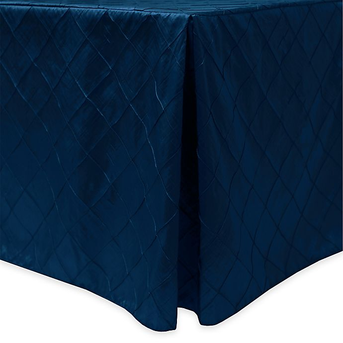 Alternate image 1 for Bombay Diamond-Stitched Pintuck Indoor/Outdoor Fitted 8-Foot Tablecloth in Royal
