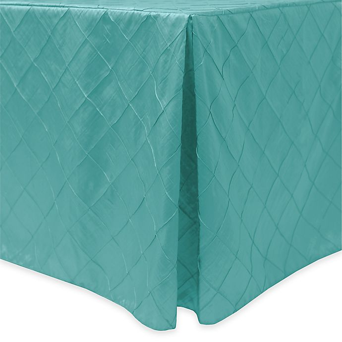 Alternate image 1 for Bombay Diamond-Stitched Pintuck Indoor/Outdoor Fitted 6-Foot Tablecloth in Turquoise