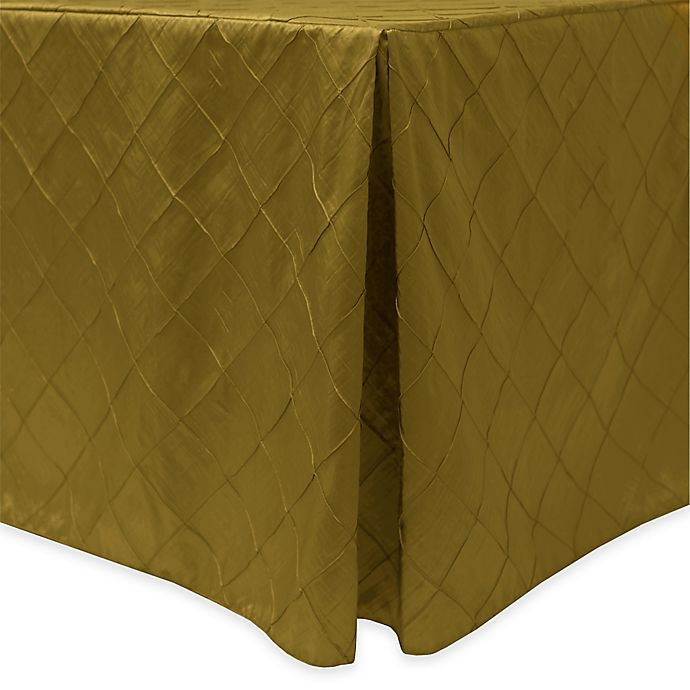 Alternate image 1 for Bombay Diamond-Stitched Pintuck Indoor/Outdoor Fitted 6-Foot Tablecloth in Acid Green
