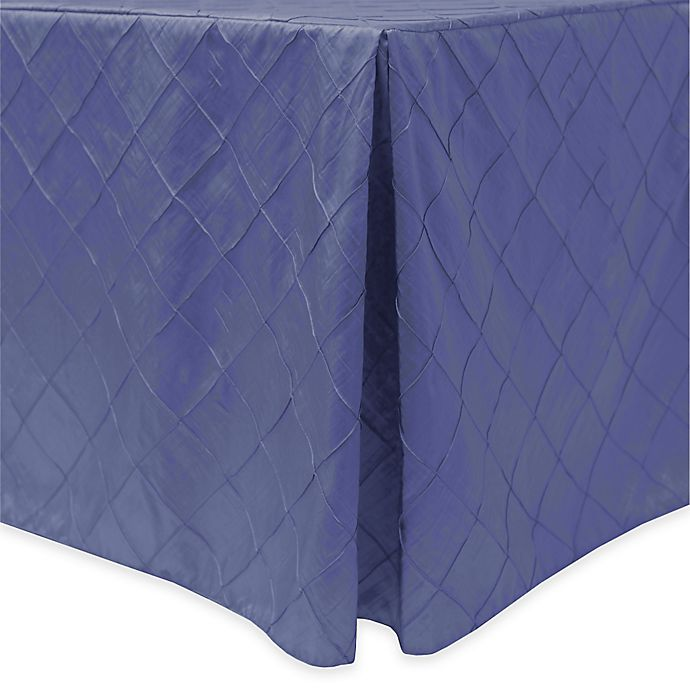Alternate image 1 for Bombay Diamond-Stitched Pintuck Indoor/Outdoor Fitted 6-Foot Tablecloth in Wisteria