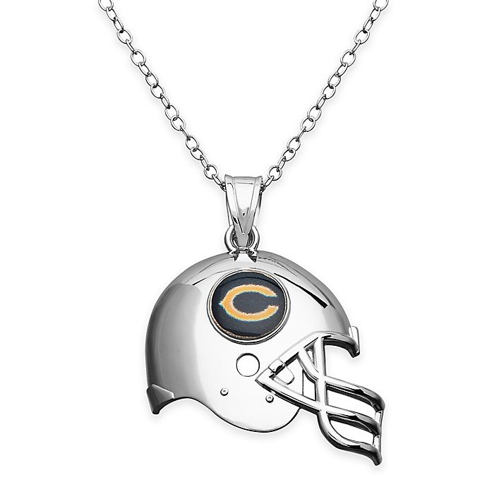 478844f6335 NFL Chicago Bears Sterling Silver 18-Inch Chain Helmet Pendant Necklace