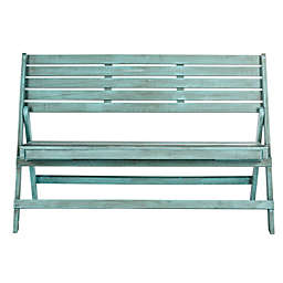 Safavieh Luca Folding Bench in Beach House Blue