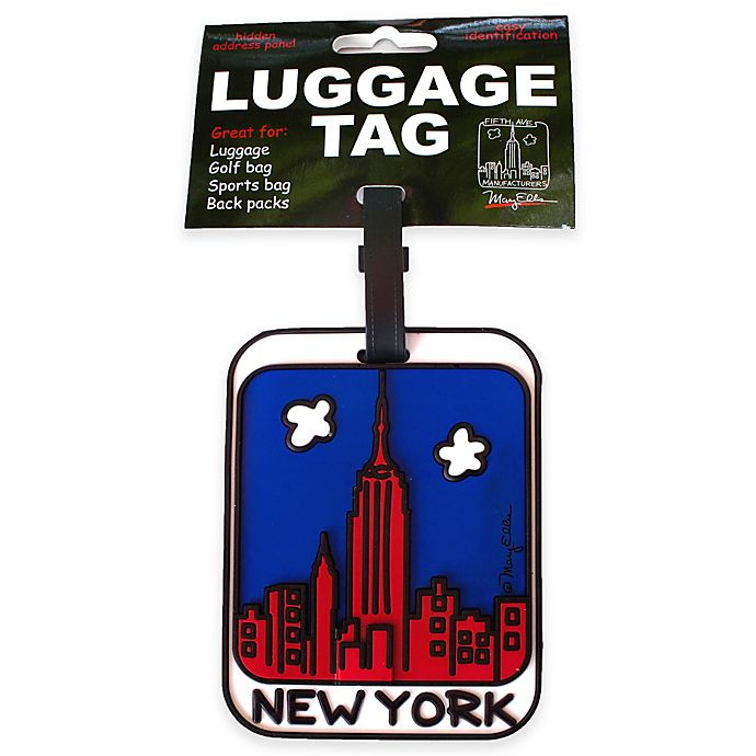 Alternate image 1 for New York Skyline 3-D Luggage Tag in Red