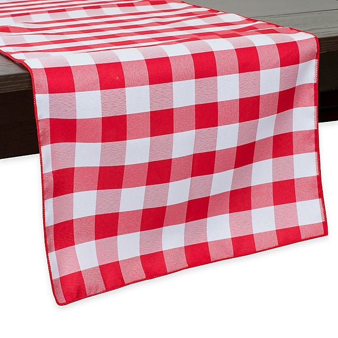 Alternate image 1 for Gingham Poly Check 54-Inch Table Runner in Red/White