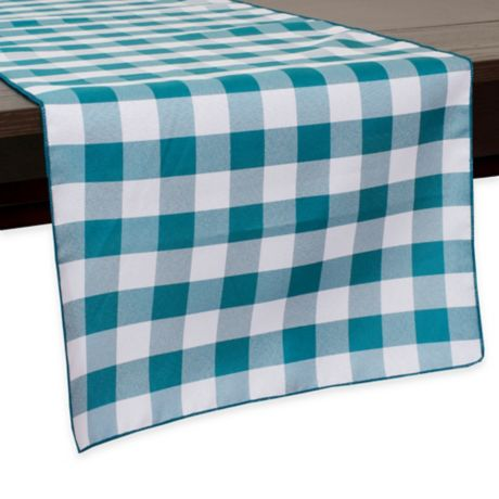 Buy Gingham Poly Check 54 Inch Table Runner In Teal White