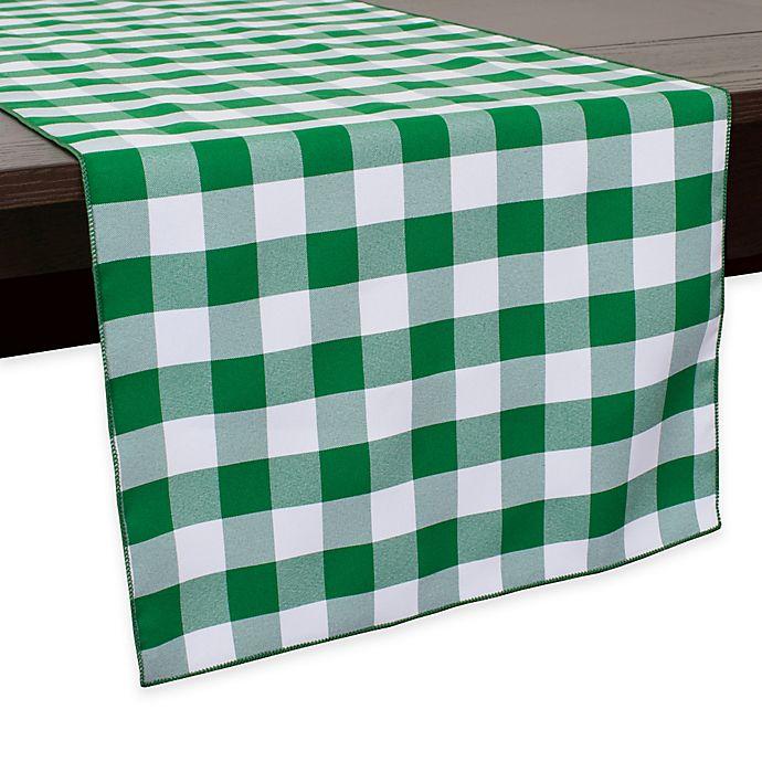 Alternate image 1 for Gingham Poly Check 72-Inch Table Runner in Moss/White