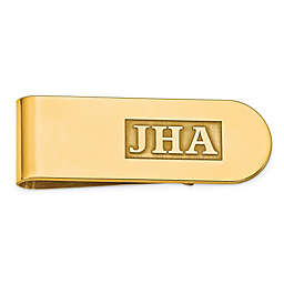 Raised Initial Textured Inlay Money Clip