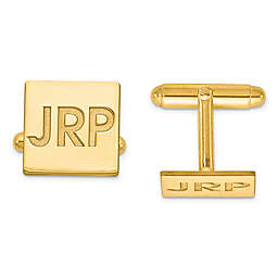 Recessed Initial Polished Square Cufflinks