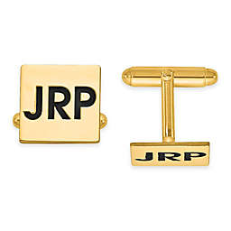 Recessed Enamel Initial Polished Square Cufflinks